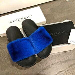 Givenchy Electric Blue mink slide sandals